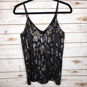 Express black silver dark gold sequin tank top NWT
